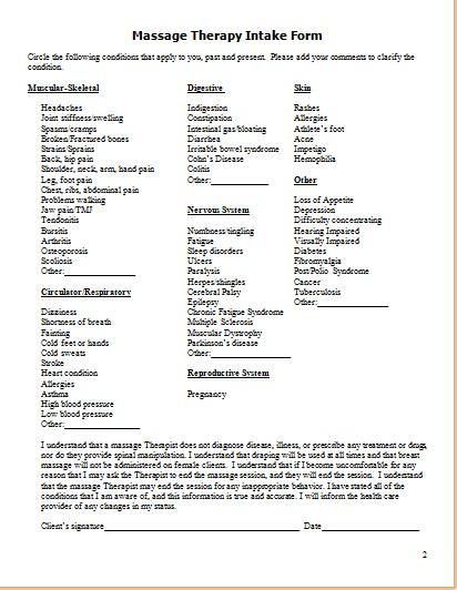 ms word editable massage client intake form printable