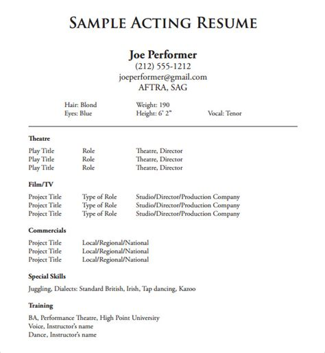 Resume Templates For Beginners by Acting Resume Template 9 Free Documents In Pdf