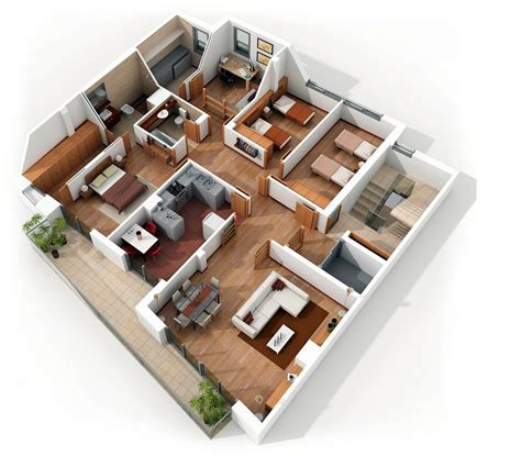 "50 Four ""4"" Bedroom Apartmenthouse Plans Architecture"