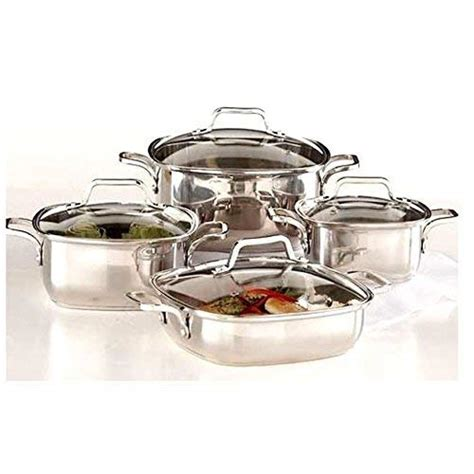 amazoncom  piece induction ready heavy duty  stainless steel unique square cookware set