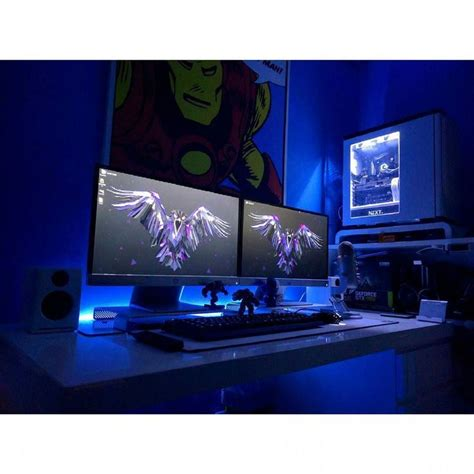 desk for 2 monitors 1000 images about techno room on pinterest gaming setup