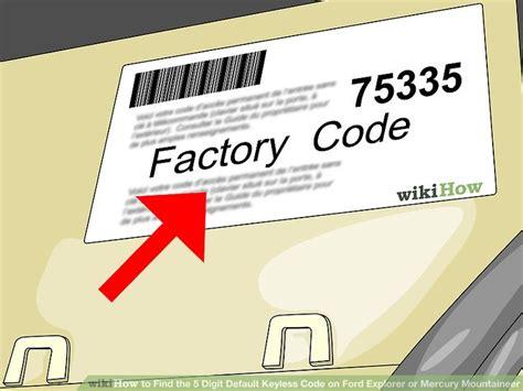 ways  find   digit default keyless code  ford