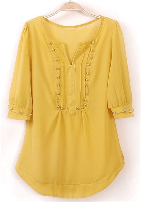 half sleeve blouse yellow rivet irregular v neck half sleeve chiffon blouse