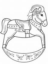 Horse Christmas Rocking Coloring Pages Drawing Printable Animals Merry Categories Getdrawings Version sketch template