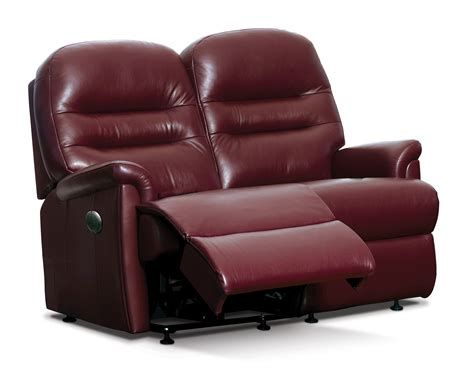 Reclining Settees by Keswick Small Leather Reclining 2 Seater Settee