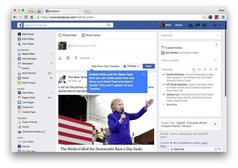 Facebook Now Lets You Post To The News Feed And Not Your
