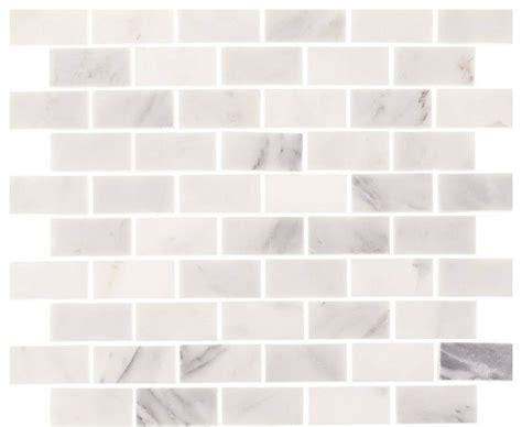 aspen white marble 1 quot x2 quot minibrick subway tile backsplash