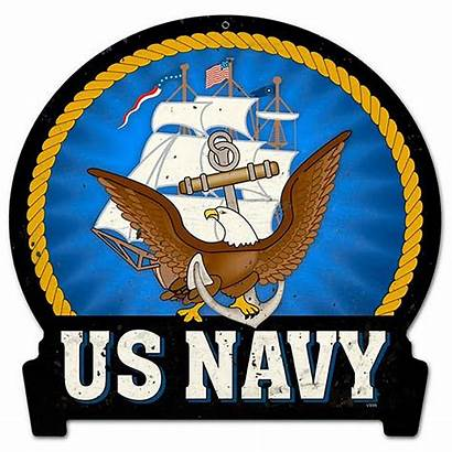 Navy Military Round Sign Banner Metal Signs
