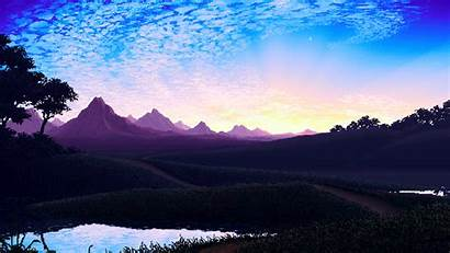 Pixel Landscape Sky Lake Water Background Wallpapers