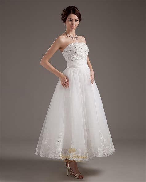 ankle wedding dress ivory organza strapless ankle length wedding dress with