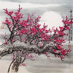 Original painting oriental art chinese art Lovely cherry
