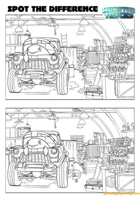 spot  difference monster truck coloring page  coloring pages