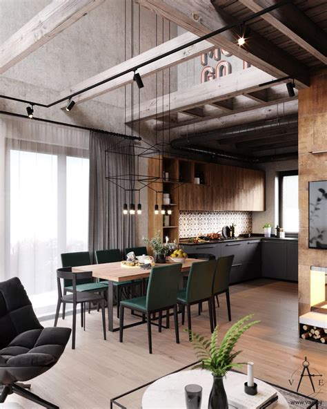 warm industrial style house  layout