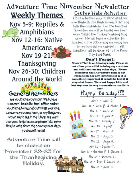 adventure time preschool and childcare sunrisechildcare 589 | Nov Newsletter pg 1