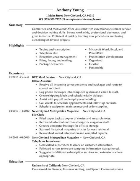 Sle Of Office Assistant Cv by Office Assistant Resume Sle The Best Letter Sle