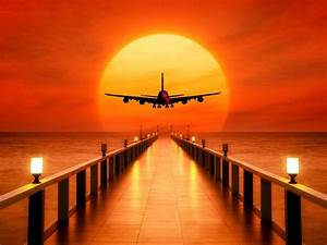 sunset, airplane, takeoff, free, images, for, wallpapers, hd