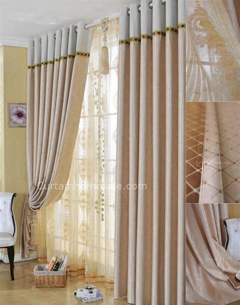living room suitable patterned beige blackout curtains