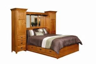 amish platform storage bed with wall storage unit headboard