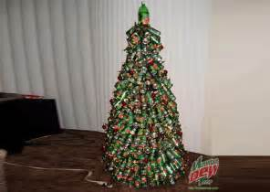 extreme christmas tree made of 400 mountain dew cans