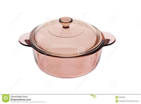 casserole en casserole en verre avec le couvercle image libre de droits image 5598056