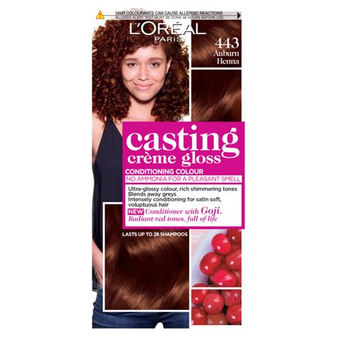 Allows for visible highlights, provides. Buy L'Oreal Paris Casting Creme Gloss 443 Auburn Henna ...