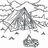 Tent Coloring Forest Camping sketch template