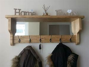 Beautiful, Quality, Handmade, Rustic, Wooden, Coat, Hook, Rack, With, Mirror, And, Shelf