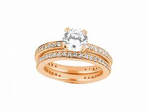 120carat round cut diamond bridal engagement ring set for 18k gold wedding ring set