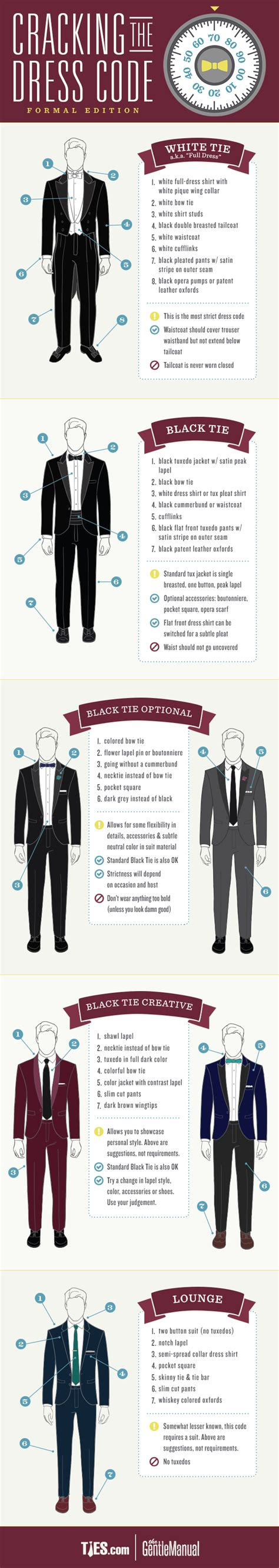 Formal Dress Codes For Men  Guide & Infographic The