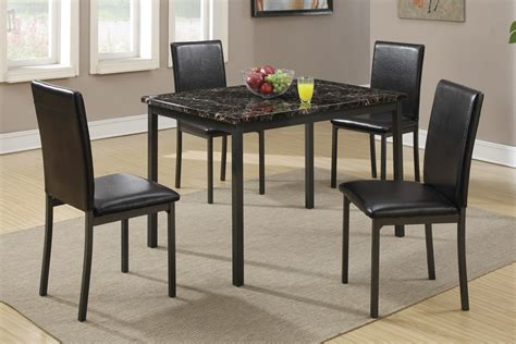 black marble dining table with 4 chairs by poundex model
