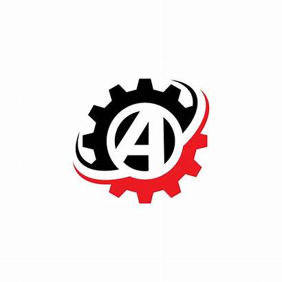 Number Letter Gear Template Vector Abstract Cogs