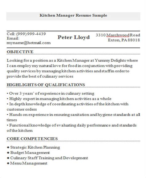Kitchen Manager Skills Resume by 9 Cook Resume Templates Pdf Doc Free Premium Templates