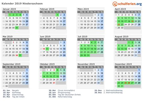 ferienkalender 2019 niedersachsen kalender 2019 ferien niedersachsen feiertage