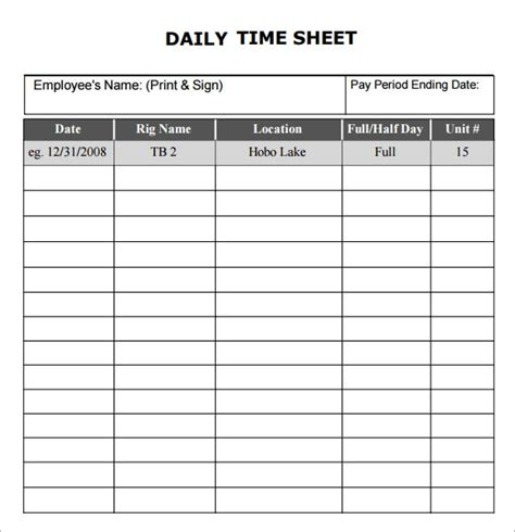 15 sle daily timesheet templates to download sle
