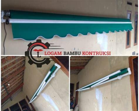 awning gulung canopy kain buka tutup logam bambu kontruksi
