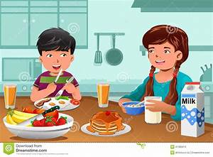 Kids Eating Healthy Breakfast Stock Vector - Illustration ...