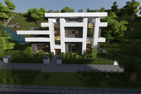 modern minecraft house render