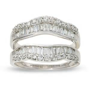wedding ring guard 1 ct t w and baguette wrap guard in 14k white gold view all rings zales
