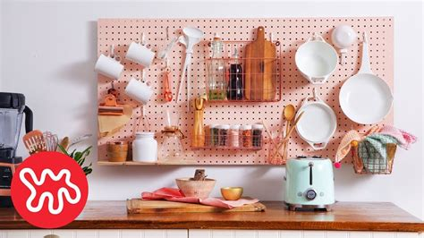 kitchen pegboard storage wall diy nar youtube