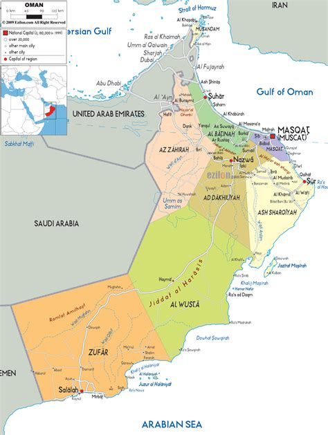 political map  oman ezilon maps