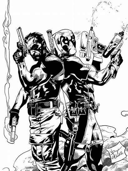 Punisher Deadpool Inks Deviantart Skull Coloring Pages