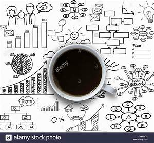 Coffee Cup With Graph And Diagram  Successful Business