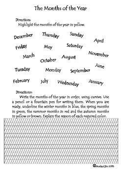 cursive writing days   week months   year
