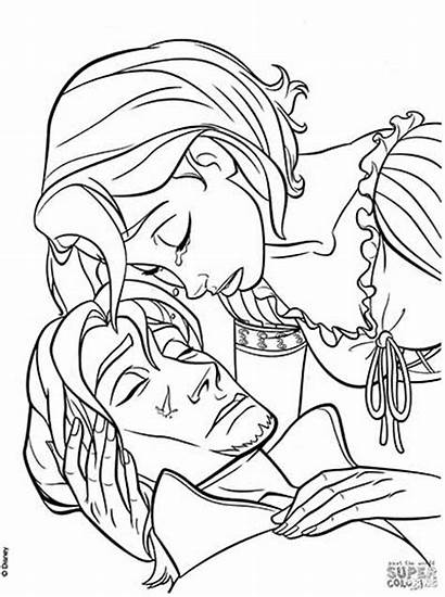Coloring Pages Flynn Tear Rapunzel Tangled Heals