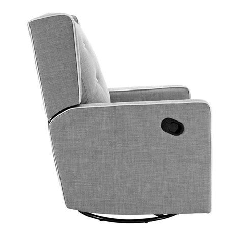 upholstered swivel gliding recliner in light gray da6942s fg