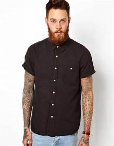Asos Shirt In Short Sleeve With Linen Mix in Black for Men ...