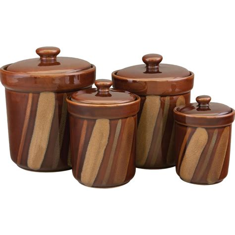 canister sets kitchen sango avanti canisters set in brown set of 4 4722 316