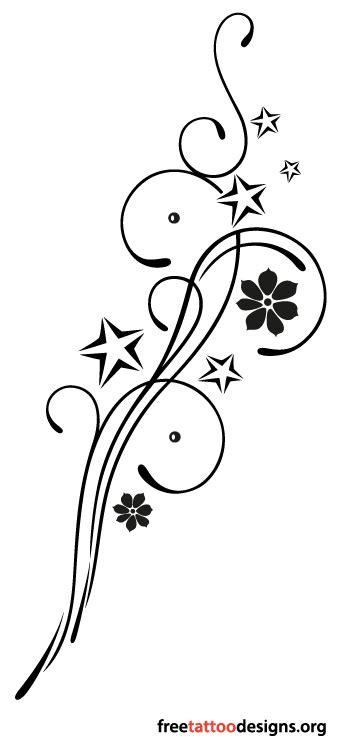 Feminine tribal tattoo design with stars and flowers