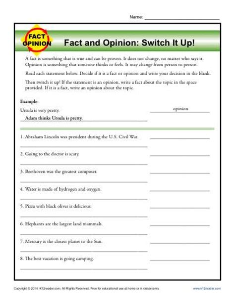 switch it up fact and opinion worksheets for 3rd and