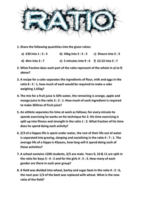 Ratio Worksheet By Tj2807  Teaching Resources Tes